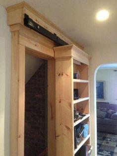 quiet glide barn door hardware - Google Search bookshelf and closet door for bedroom in NH, inset baskets on shelves