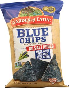 Typical tortilla chips can contain up to 160 mg of sodium per serving! Garden of Eatin'® No Salt Added Blue Corn Tortilla Chips contain only 10 mg of sodium per 16 chip serving and get an awesome NuVal® score of Tortilla Chip Brands, Best Tortilla Chips, Homemade Tortilla Chips, Homemade Tortillas, Low Salt Recipes, Low Sodium Recipes, Whole Food Recipes, Sodium Foods, Cheap Recipes
