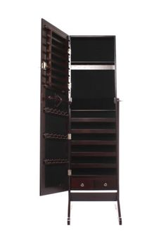 Dark-Brown-Mirrored-Jewelry-Cabinet-Armoire-Stand-Mirror-Earring-Ring