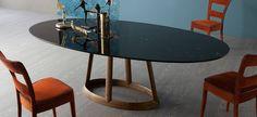 table salle à manger à plateau ovale en marbre design par Bonaldo- Greeny