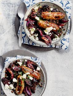 Make our sausages with mustardy lentils, beetroot and feta recipe for a sizzling flavour combination. A delicious gluten-free family dinner and leftovers are great for a packed lunch the next day. Beetroot Recipes, Veg Recipes, Sausage Recipes, Vegetarian Recipes, Dinner Recipes, Cooking Recipes, Healthy Recipes, Healthy Food, Sainsburys Recipes