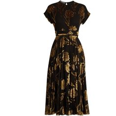 Rochas Floral fil-coupé crepon midi dress (80.755 ARS) ❤ liked on Polyvore featuring dresses, rochas, black gold, velvet dress, metallic cocktail dress, midi evening dresses, special occasion dresses and midi dress
