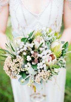 JESS + SAM // #flowers #native #natural #pale #white #green #texture #bouquet #wedding #bride