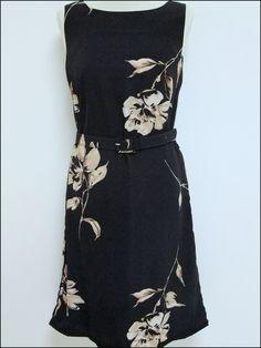 Studio I - Pencil Dress, A Line Party Dress Suit, Black Mocha Floral Print sexy Dress and Jacket- Size S-M by OrlyLa on Etsy