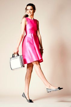 kate spade hot pink paris roset dress FEATURES polyester silk invisible side zipper on seam pockets FIT fit and flare dress size 4 measures from highest shoulder point Sweater Weather, Pink Paris, Ladylike Style, Pink Dress, Dress Black, Playing Dress Up, New York Fashion, Passion For Fashion, Fit And Flare