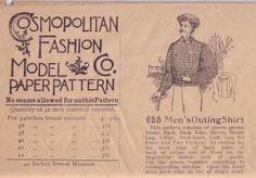 Unsung Sewing Patterns: Cosmopolitan Fashion Company 655 - Men's Outing Shirt