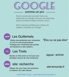 Tout le monde sait comment faire une recherche sur Google. Mais peu de personnes savent comment l'utiliser comme un pro. Heureusement, voici 3 techniques de recherche à connaître si vous souhaitez obtenir de meilleurs résultats sur Google.  Découvrez l'astuce ici : http://www.comment-economiser.fr/meilleurs-resultats-de-recherche-sur-google.html?utm_content=buffer60e08&utm_medium=social&utm_source=pinterest.com&utm_campaign=buffer