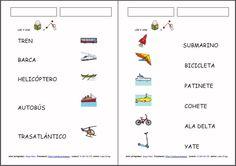 MATERIALES - Los medios de transporte. Diferentes materiales para trabajar el vocabulario de los medios de transporte, la clasificación según si van por tierra, mar o aire, fichas de leer y unir y material manipulativo para la lectura y comprensión de la misma colocando la palabra debajo de su dibujo. http://www.catedu.es/arasaac/materiales.php?id_material=1111