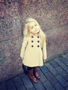 girl in a peacoat and boots - adorable look for fall and winter