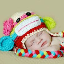 HANDMADE CROCHET SOCK MONKEY HAT COLORFUL