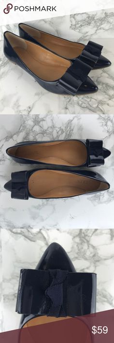 J. Crew Factory Navy Bow Emery Flats Size 7 J. Crew Factory Navy Bow Emery Flats Size 7  Patent polyurethane upper. Man-made sole. These bow patent flats are so on trend right now! They go with leggings, jeans, skirts, pretty much everything in your closet! In great used condition, with some wear on the sides and soles as shown. Preowned from a smoke free home. Check out the rest of my closet to create your own custom bundle! J. Crew Factory Shoes Flats & Loafers