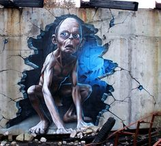 Gollum from Lord of the Ring in street art