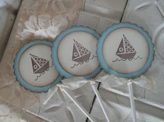 Sailboat Cupcake Toppers  Baby Boy Shower by EllenasPaperHouse