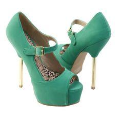 Qupid Women's TREASURE02 Gold Metal Stick Heel Mary Jane Platform Stiletto High Heel Pump Shoes, Sea Green