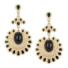Yoins Diamond And Stone Embellishment Drop Earrings ($4.37) ❤ liked on Polyvore featuring jewelry, earrings, accessories, orecchini, joias, black, earring jewelry, diamond jewelry, diamond jewellery and diamond drop earrings