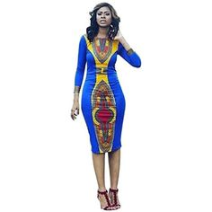 d71ac63af49c Bodycon SkirtNeartime Women Long Sleeve African Print Girls Straight Print  Kaftan Dress L