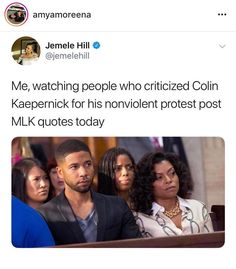 Not that I actually know anyone who would criticize a nonviolent protest, because I don't hang with people who are openly racist.