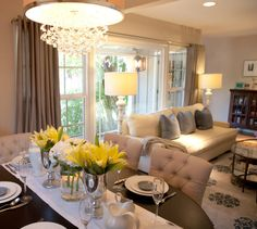 Contemporary Traditional Transitional Dining Room / Family Room / Living Room Design Photo by A.S.D. Interiors Album - A.S.D. Interiors Portfolio - Created by Shirry Dolgin, Light and airy dining and living room