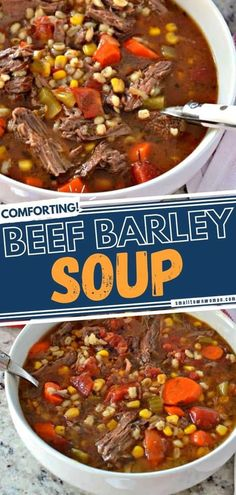 This easy Sunday dinner idea is sure to become one of your favorites! The whole family won't be able to get enough of this classic Beef Barley Soup recipe with tender chuck roast and lots of vegetables. What more can you ask of a nutritious bowl of comfort food goodness? Beef Soup Recipes, Crockpot Recipes, Cooking Recipes, Beef Soups, Beef Dishes, Cherry Tomato Sauce, Beef Barley Soup, Soup And Sandwich, Frugal Meals