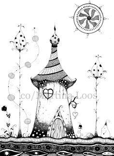 Atelier Aquarellzauber Blog: Doodle Sakura Fineliner Elfenhäuschen Elvenhouse