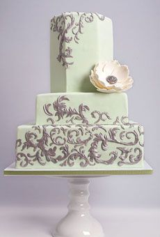Village Bake Shop, Santa Monica CA  Green With Silver And An Ivory Textured Flower