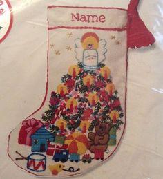 "Jiffy Crewel Baby's Fantasy Christmas Stocking Vtg 1970 7.5"" Kit 193 Davenport #JiffyStitcherySunsetDesigns"