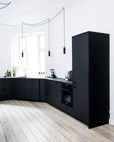 Black minimalistic kitchen