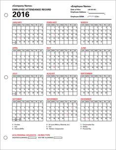 Free Printable Employee Attendance Calendar Template 2016
