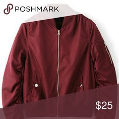 [ Burgundy Bomber Jacket ] Only worn once, it is a medium.. Looks exactly as shown in the picture. Jackets & Coats