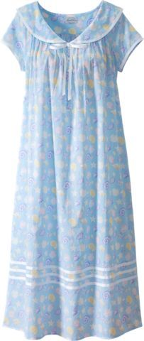 Lanz seashell nightgown features a sailor collar with grosgrain ribbon and capped sleeves. Slip into this nautical cotton lawn gown for exceptional comfort.
