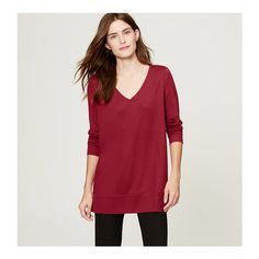 LOFT Drapey Ponte Tunic Tee ($55) ❤ liked on Polyvore featuring tops, t-shirts, lustrous red, side slit tee, v neck tee, red long sleeve tee, long v neck t shirt and red v neck t shirt