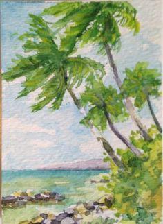 aceo Vosberg Original Watercolr Mini Dancing Palms Trees  Tropical Beach Hawaii