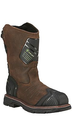 Ariat Men's Hybrid All Weather Oiled Brown & Neoprene Square Steel Toe Work Boots Pull On Work Boots, Good Work Boots, Steel Toe Work Boots, Cool Boots, Composite Toe Work Boots, Mens Boots Fashion, Liner Socks, Goodyear Welt, Dress With Boots
