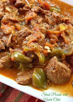 This recipe for Steak Picado with Hatch Chile epitomizes the best of Mexican home cooking. The pieces of beef are tenderized with the tomatoes, onions and garlic and the Hatch chile adds amazing depth of flavor and heat. Steak Chili Recipe, Chuck Steak Recipes, Beef Chuck Steaks, Chile Recipe, Meat Recipes, Mexican Food Recipes, Spanish Recipes, Yummy Recipes, Crack Crackers