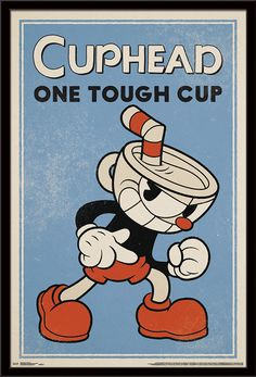 Trends International Cuphead: Don't Deal with The Devil - Tough Cup, x Barnwood Framed Version Retro Cartoons, Old Cartoons, Cuphead Game, Game Art, Cartoon Styles, Cartoon Design, Arte Do Harry Potter, Deal With The Devil, Barn Wood Frames