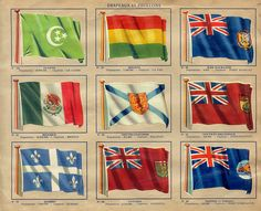 flag stamps in children's collectible stamp album from a French confectionery