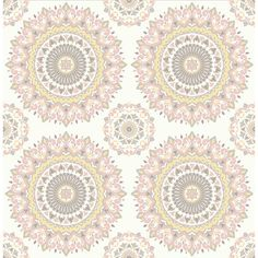 Sample Gemma Light Pink Boho Medallion Wallpaper from the Kismet... ($10) ❤ liked on Polyvore featuring home, home decor, wallpaper, backgrounds, bohemian home decor, medallion wallpaper, boho home decor, brewster home fashions and bohemian style home decor