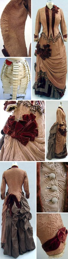 Circa 1886-1890 Ensemble, L.P. Hollander & Co., Boston: Bodice, skirt, bustle, and hat. Tan bodice is decorated with brown velvet trim and beaded fringe. It originally belonged to Mrs. Isaiah Howes, Nantucket, MA. Via Univ. of North Carolina Dept. of Dramatic Art.