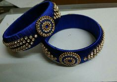 Trendy Royal Blue Silk Thread Bangles 2 Large Bangles With Stone and Bead Works Silk Thread Bangles Design, Silk Thread Necklace, Beaded Necklace Patterns, Thread Jewellery, Jewelry Patterns, Beaded Jewelry, Quilling Jewelry, Kundan Bangles, Silk Bangles