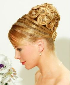 long blonde straight coloured sculptured beehive updo wedding bridal  Womens hairstyles for women