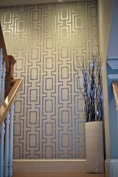 Modern Masters Silver Metallic Paint used to Stencil Staircase Focal Wall | Project by Memento Bracelet