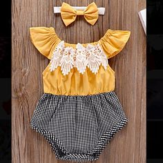 c5e4d909953c Yellow Lace Black and White Gingham Cap Sleeve Baby Romper with Matching  Headband for Summer