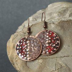 Copper Enamel Earrings by Karasisi on Etsy Enamel Jewelry, Jewelry Art, Beaded Jewelry, Jewelry Design, Email, Enamels, Jewellery Making, Metallica, Making Ideas