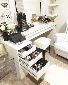 Something like this except I think I just need the organized drawers and a top that can be used as a table (for mirror, brushes, etc)