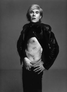 Andy Warhol with his scars after his attempted murder by V.Solanas   photo by Richard Avedon