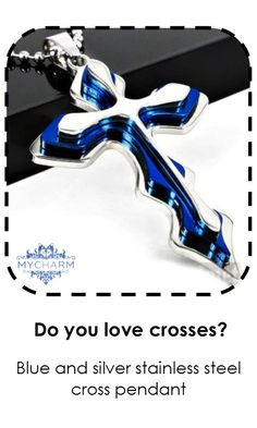 Blue and Silver Stainless Steel Cross Necklace