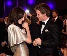 Pin for Later: Adorable Duos Pal Around at the Critics' Choice Awards Eddie Redmayne and Angelina Jolie