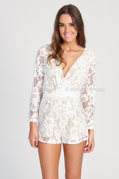 winona lady lace playsuit - white | Esther clothing Australia and America USA, boutique online ladies fashion store, shop global womens wear worldwide, designer womenswear, prom dresses, skirts, jackets, leggings, tights, leather shoes, accessories, free shipping world wide. – Esther Boutique