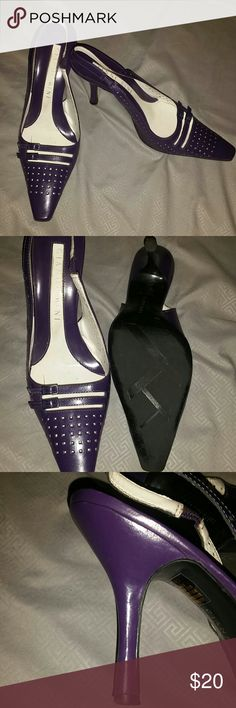 """Gianni Bini heels Beautiful and classy heels by Gianni Bini in a pretty (not obnoxious) purple color. Took the pics with flash on because was having a hard time capturing the color of them. In EUC, most sign of wear in the footbed where foot has rubbed the name a bit. Barely any signs of wear on soles or heel tips. Leather upper.  Style name is """"Perfect"""" and it certainly fits. Comfortable slingbacks and eye catching perforated details make these a must have! Pic 1 is closest to actual color…"""