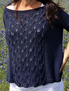 aktuellste Fotografien sommerpulli Stricken diy Arbeit The Bluebonnet Top Summer Knitting, Lace Knitting, Pull Crochet, Knit Crochet, Crochet Pullover Pattern, Blue Bonnets, Knitting Designs, Top Pattern, Pulls